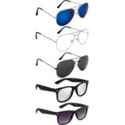 NuVew Aviator, Wayfarer Sunglasses(Black, Clear, Blue, Silver, Violet, Red)