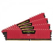 Memorie Corsair Vengeance LPX Red 16GB (4x4GB) DDR4, 2400MHz, PC4-19200, CL14, 1.2V, Quad Channel Kit, CMK16GX4M4A2400C14R