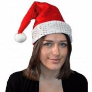 Merkloos Kerstmuts rood met zilver voor volwassenen