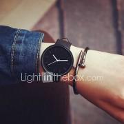 Heren Dames Voor Stel Modieus horloge Kwarts Vrijetijdshorloge Leer Band minimalistische Zwart