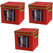 Merkloos 3x Rode kerstversiering opbergboxen voor 27 kerstballen