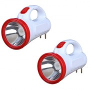 Combo of Rock Light 10 Watt 14 LED Emergency Light LED Torch Red and White (Pack of Two)