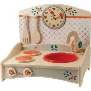 DIDA - Mini Kitchen with Blue Decoration Toy Wooden Children's Table