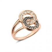 Aranyozott, kristályos gyűrű görög mintával-8