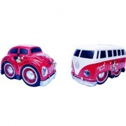 Emob Pull Back Red Cartoon Printed Metal Model Car and Van Toy with Light and Sound (Multicolor)