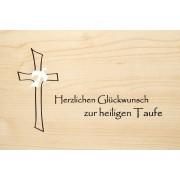 Die Laserei Holzgrusskarte - Taufe - Herzlichen Glückwunsch zur heiligen Taufe.