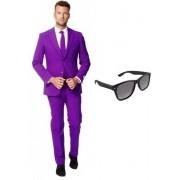 Paars heren kostuum / pak - maat 50 (L) met gratis zonnebril