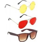 Elligator Round, Aviator, Wayfarer Sunglasses(Yellow, Red, Brown)