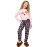Szofika lányka pizsama rénszarvassal, lazacszín 104