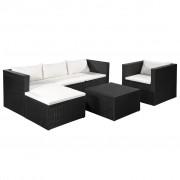 vidaXL Set mobilier de grădină, 13 piese, poliratan, negru și alb crem