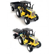 Combo Toys of Tractor with Trolley and Tractor with Tanker | Toy for Kids | Show Piece | Miniature/Model Tractor |Pull Back and Go | Yellow Color| Set of 2 Tractors - Value Pack