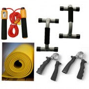 BODY MAXX Complete Family Fitness Kit Push Ups bar + Yoga Mat + Hand Grippers + Rope With Counter.!!