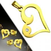 Arany színű nemesacél szett, szív alakú medál és fülbevaló, cirkónia kristállyal