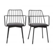 Miliboo Design-Sessel schwarzes Metall mit Kissen (2er-Set) GRID