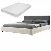 Двойно легло Corium®, Серия My.bed с вертикално LED-es осветление и матрак, 140x200cm, с подматрачна рамка, Изкуствена кожа/Текстил, Крем/Сив