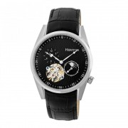 Heritor Automatic Alexander Semi-Skeleton Leather-Band Watch - Silver/Black HERHR4902