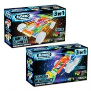 Bundle Of 2 Blokko Led Light Up Vehicle Kits: Racecar And Construction. Instructions For 6 Different Vehicles Included