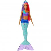 Papusa Barbie sirena creola cu parul mov si roz Dreamtopia