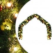 vidaXL Коледен гирлянд, декориран с топки и LED лампички, 5 м