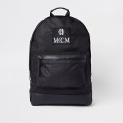 River Island Mens Black embroidered backpack (One Size)