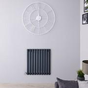 Hudson Reed Radiateur design électrique horizontal - Anthracite - 63,5 cm x 59,5 cm x 5,5 cm - Vitality