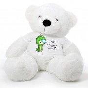 White 5 feet Big Teddy Bear wearing a Green RAWR I Love You T-shirt