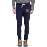 Cliths Navy Blue Slim Fit Zeep Printed Trackpant for Men