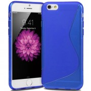 "Blue S Line Wave Gel Silicone Soft Case Cover Apple iPhone 6 / 6S 5.5"" Cover"
