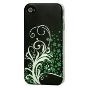 GadgetBay Étui Fleurs vert argenté iPhone 4 4s Noir