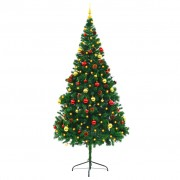 Sonata Изкуствена елха, украсена с играчки и LED лампи, 210 см, зелена