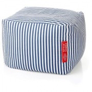 Style Homez Square Cotton Canvas Stripes Printed Bean Bag Ottoman Stool Large with Beans Navy Blue Color