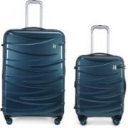 It Luggage Tidal Polycarbonate Hardsided Suitcase|Expandable Combo-Large & CabinTravel Luggage Bag|8 Wheel Trolley|16-2327-08|Set of 2 Black /Blue, 63 cm,80 cm,63 cm Expandable Cabin & Check-in Luggage - 32 inch(Blue)
