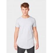 TOM TAILOR DENIM T-shirt met logoborduurwerk, Light Stone Grey Melange, M