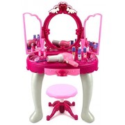 Toy Vanities Kids Authority Glamorous Triple Mirror Pretend Play Battery Operated Toy Beauty Mirror Vanity Play Set w/Flashing Lights, Music, Accessories