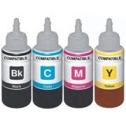 AQUAJET Refill Compatible For HP InkJet Cartridges CISS All Colors - 100 Each Bottle Multi Color Ink