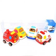 FanBell Push and Go Friction Powered Car Toys Set Mini Powered Play Vehicles For Baby Toddlers (Set of 4)