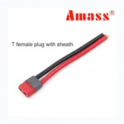 Generic 1PCS Amass T Plug XT30U XT60H XT60L XT90H Plug with Sheath housing with 10cm 10awg 12awg 14awg Silicone Cable Male and Female T Female House 12awg