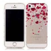 GadgetBay Coque Coeurs pour Fleurs d'amour TPU iPhone 5 5s SE - Rouge Transparent Rose