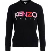 Kenzo Maglia Kenzo in tessuto nero con logo frontale multicolore