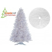 Brad artificial de Craciun, Alb Alpin Inghetat 180 cm cu suport Si Covor rotund din blana artificiala, diametru 122 cm, alb