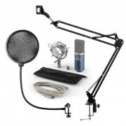 Auna MIC-900BL Juego de micrófono V4 USB Micrófono de condensador Protector antipop Brazo para micrófono azul