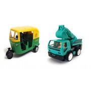 Varshas Combo Toys Of Auto Green & Friction Truck Green & Black, Small Size