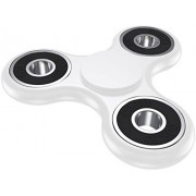 Fidget Spinner Tri-Spinner Anti-Anxiety 360 Spinner Helps Focusing Fidget Toys [3D Figit] Premium Quality EDC Focus Toy for Kids & Adults-Best Stress Reducer Relieves ADHD Anxiety and Boredom Ceramic Cube Bearing Hand Spinner-White Color