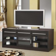 Espresso finish wood tv stand entertainment center with storage drawers and built in connect it drawer