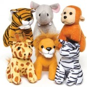 Baker Ross Mini Animal Soft Toys - 6 Small Jungle Animal Cuddly Toys. Designs: Elephant, Zebra, Gorilla, Lion, Tiger & Giraffe. Size approx. 12cm-13cm