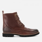 Clarks Men's Batcombe Lord Leather Brogue Lace Up Boots - Dark Tan - UK 10