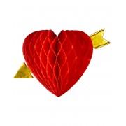 Honeycomb Hjärta med Guldfärgad Pil 13 cm