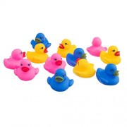 Imported 12 Pcs Swimming Rubber Squeeze Squeak Ducks Baby Kids Children Bath Toys
