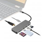 4smarts USB-C Super smart 7in1 4K hub - USB-C хъб за свързване на допълнителна периферия за компютри с USB-C (сребрист)