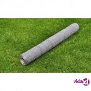 vidaXL Šesterokutna žičana galvanizirana mreža 75 cm x 25 m debljina 0,75 mm